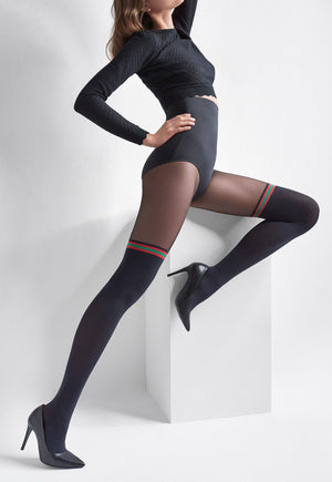 Zazu 13 Mock Over-Knee Sock Tights with Red/Green Band by Marilyn