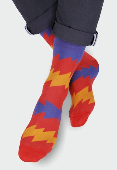 Zigzag Patterned Cotton Socks by More in Red, Purple, Orange
