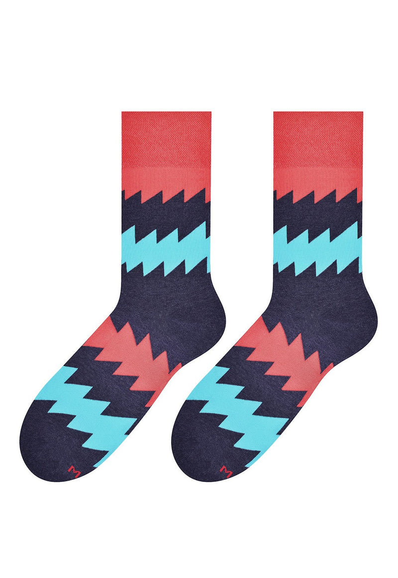 Zigzag Patterned Socks in Navy, Blue & Red by More