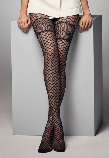 Darya Mock Lace-Up Brief & Hold-Up Tights by Fiore