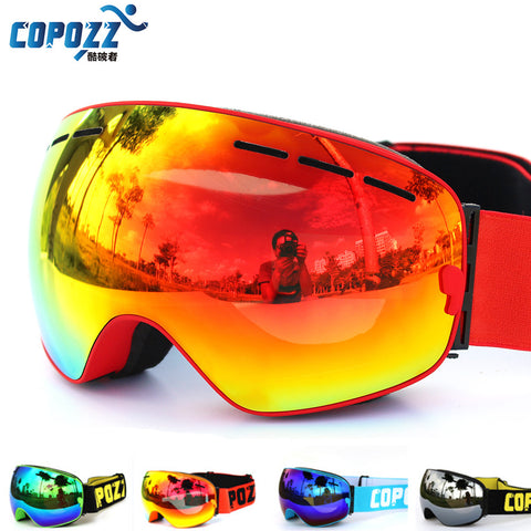 COPOZZ New Double Layered UV400 Anti-Fog Big Ski and snowboard Goggles GOG-201