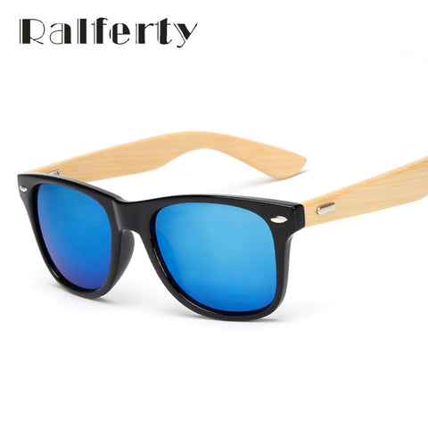 Ralferty Retro Wood Bamboo Gold Mirror Sunglasses and Shades