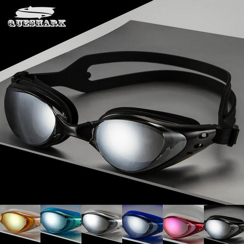 QUESHARK Professional Electroplate Waterproof Anti Fog UV Protected Swimming Glasses and Goggles