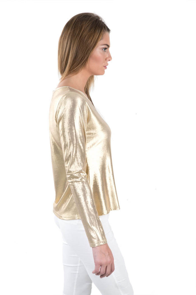 86f49ffd638b87 Basic Metallic Knit Top - Gold. AED 49.00. Tap to expand