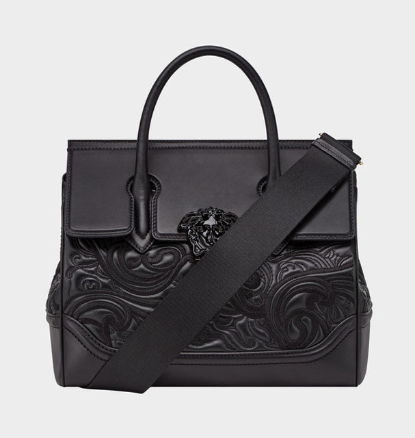VERSACE EMBROIDERED PALAZZO EMPIRE BAG