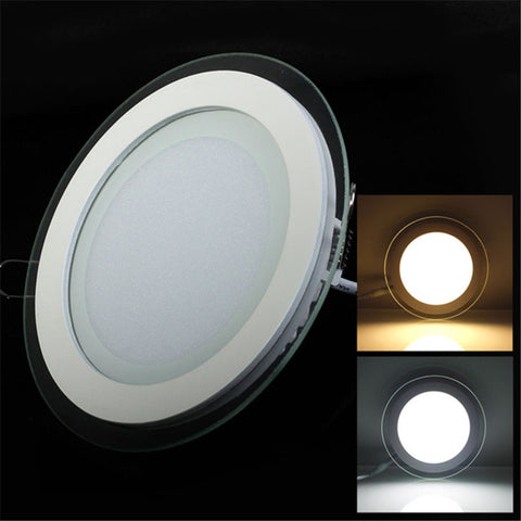 Glass LED Panel Downlight, non dimmable, emitting color can be set (warm white - normal white - cool white)