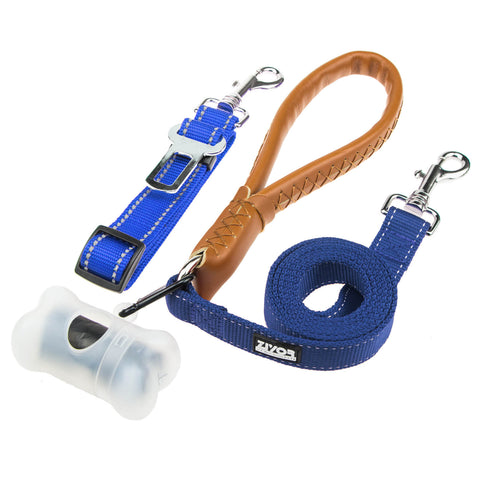 Dog Leash and Seat Belt, 5 FT Leather Handle and Rope Mixed, Adjustable Car Seat Belt for Dogs (Blue)