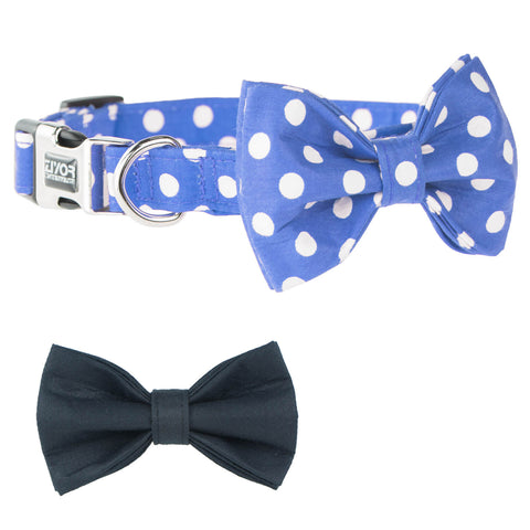 Dog Bow Tie Collar, Adjustable Soft Dog Collar with 2 Patterns of Bowties (Blue)