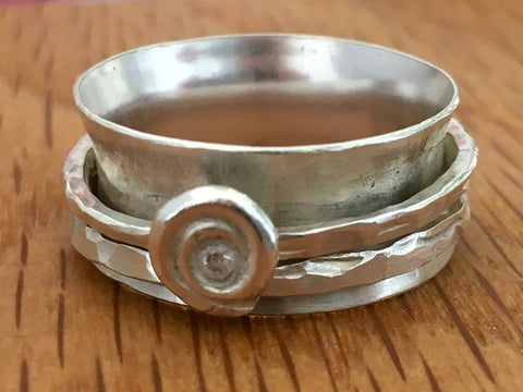 Extra large Sterling silver spinning ring, size Z - Handmade silver jewellery by Michelle Giles Jewellery