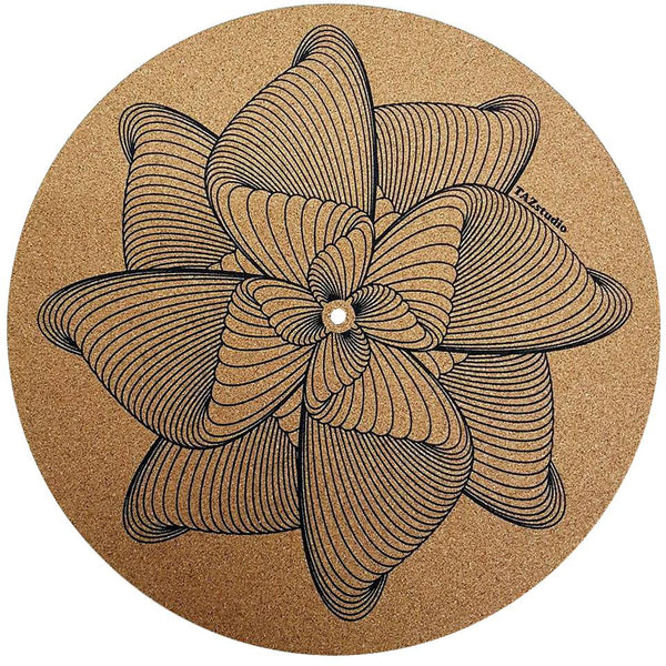 Turntable Slipmat - Specially designed Cork. Proves Sound Quality With Better Grip And Helps in audio quality keep your Records Clean With Extra Stability ,designed Cork SPIRAL LINES