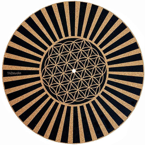 Turntable Slipmat/slipmat - Specially designed Cork. psychedelic geometric Flower lines …