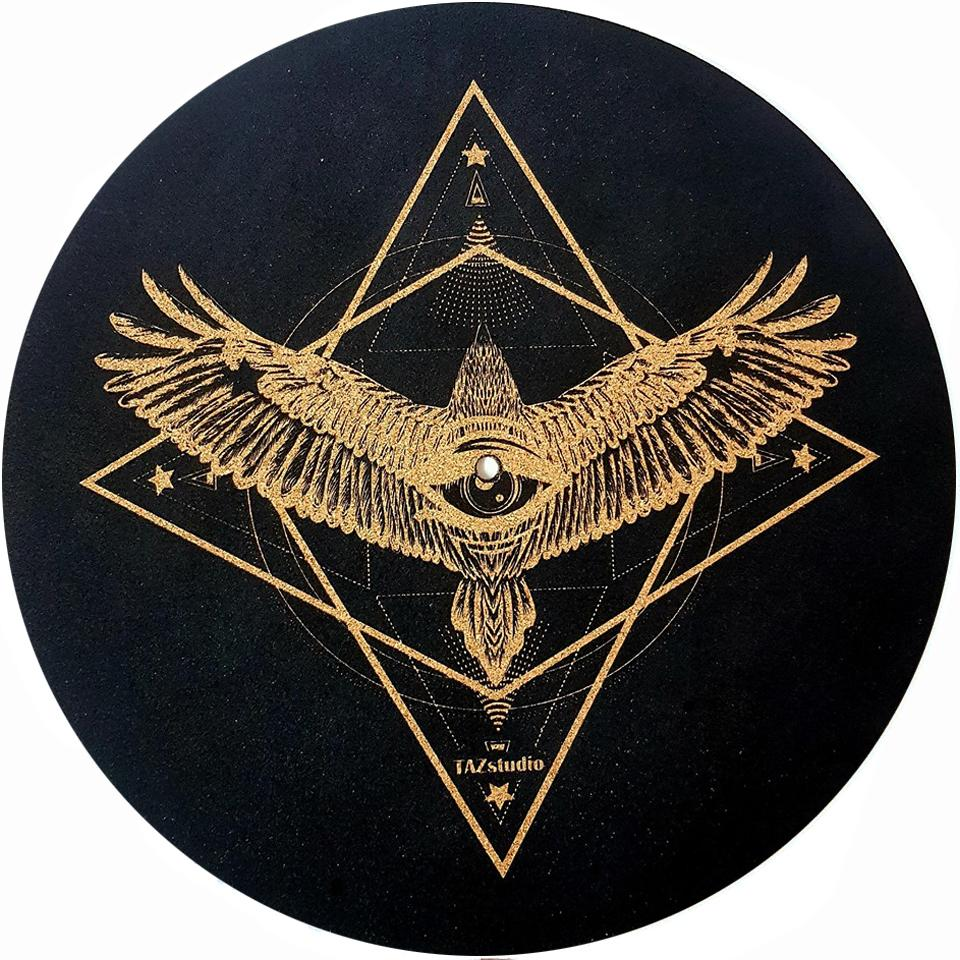 .Turntable Slipmat - Specially designed Cork. Proves Sound Quality With Better Grip And Helps in audio quality keep your Records Clean With Extra StabilityGeometric Eagle