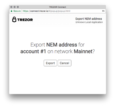 NEM TREZOR hardware wallet export