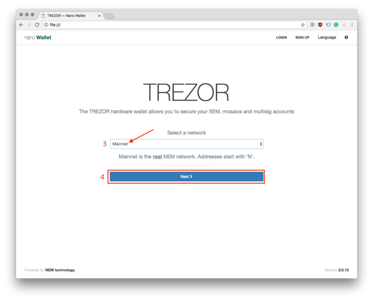 NEM TREZOR hardware wallet login