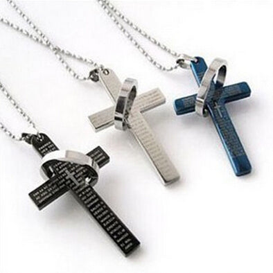 Lord's Prayer Cross Titanium Steel Pendant