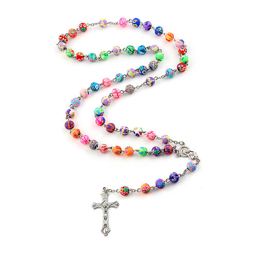 Colorful Bead Rosary Pendant Necklace