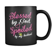 """Blessed by God"" Black Mug"
