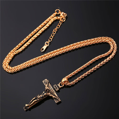 Crucifix Gold Color Stainless Steel Men's Pendant Necklace