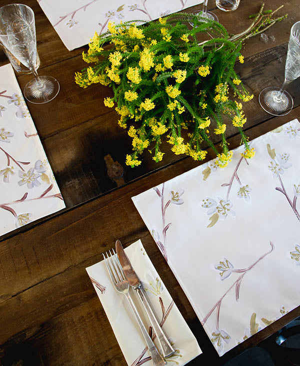 Silver and Gold Cherry Blossoms Placemats
