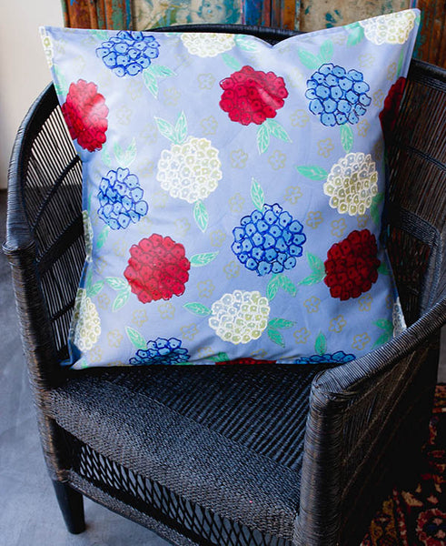 Hydrangeas on Blue Background Scatter Cushion
