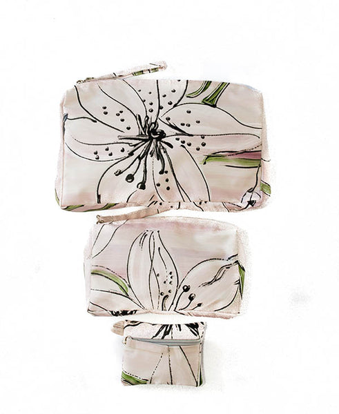 Lilac Tiger Lily Cosmetic Bag Set Of 3