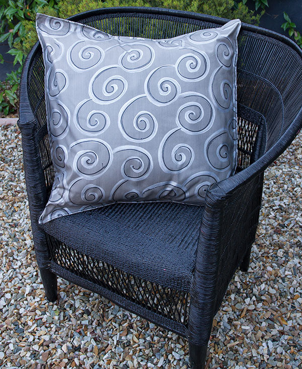 Silver and Black Swirls on Grey Scatter Cushion