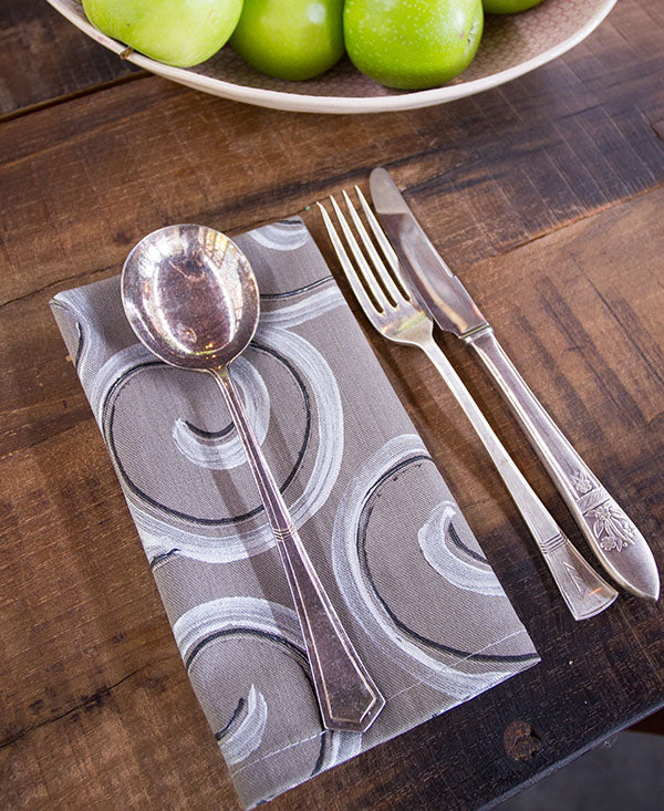 Silver and Black Swirls on Grey Napkins
