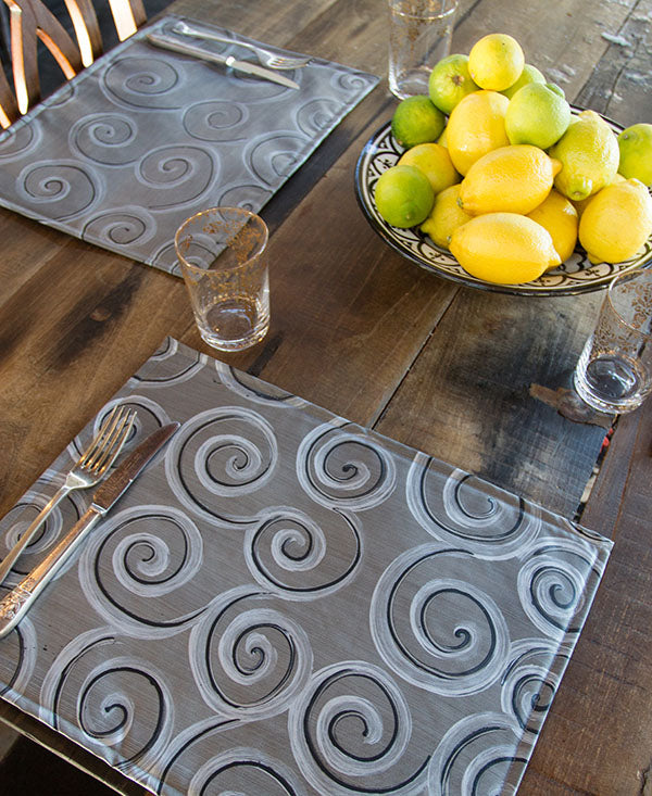Silver and Black Swirls on Grey Placemats