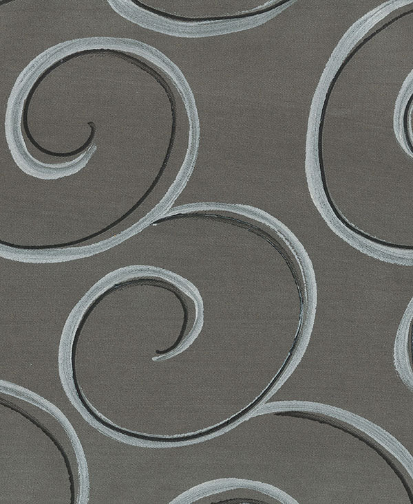Silver and Black Swirls on Grey Fabric