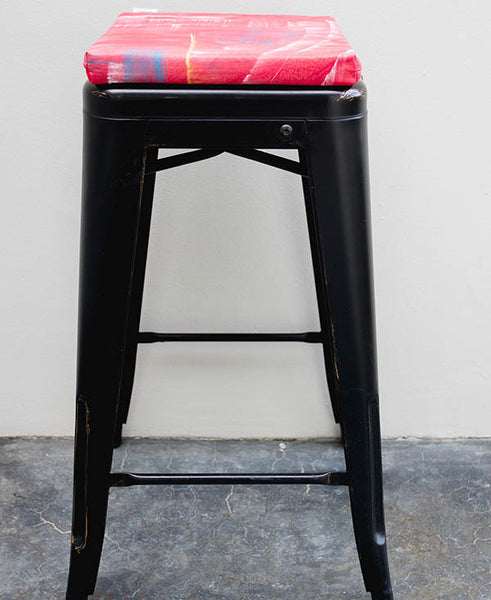 Red Mixed Colour Wash Bar Stool Cushion