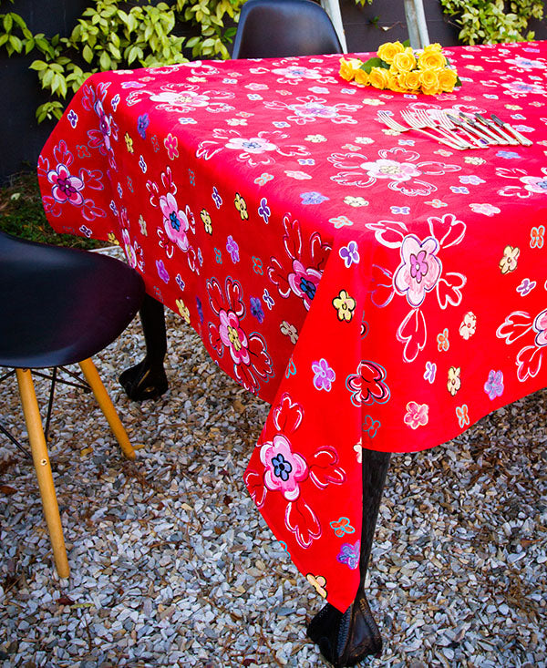 Retro Bright Floral Tablecloth