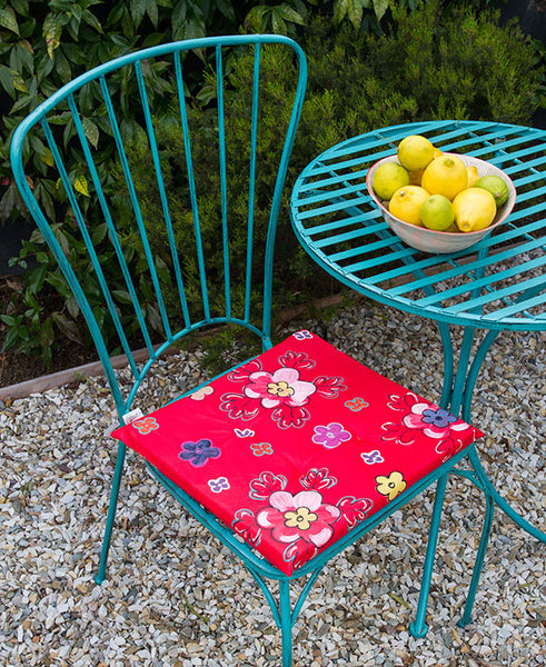 Retro Bright Floral Chair Cushion