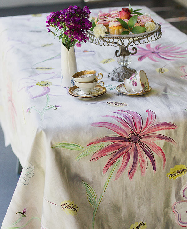 Flower Garden in Pinks Tablecloth