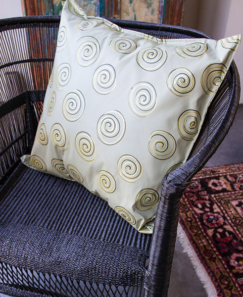 Gold Swirls on Taupe Scatter Cushion