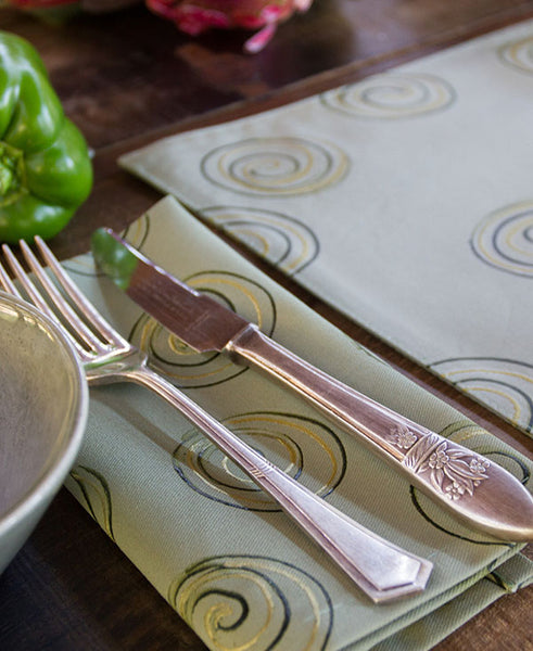 Gold Swirls on Taupe Napkins