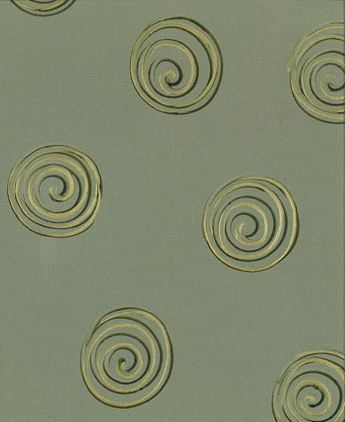 Gold Swirls on Taupe Fabric