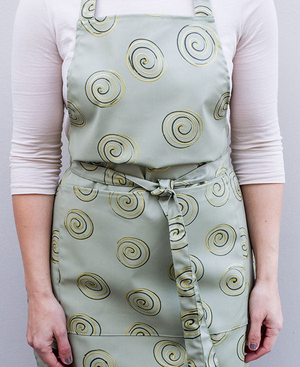 Gold Swirls on Taupe Apron