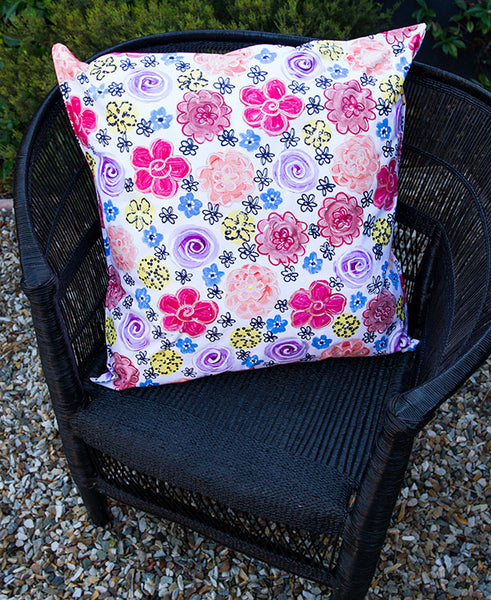 Vintage Bright Flower Garden Scatter Cushion