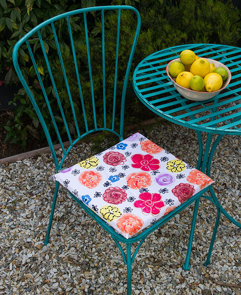 Vintage Bright Flower Garden Chair Cushion