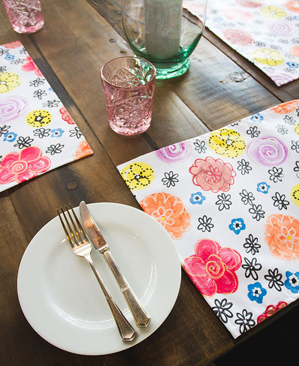 Vintage Bright Flower Garden Placemats