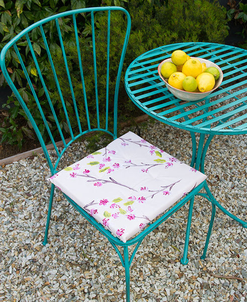 Pink Cherry Blossoms Chair Cushion