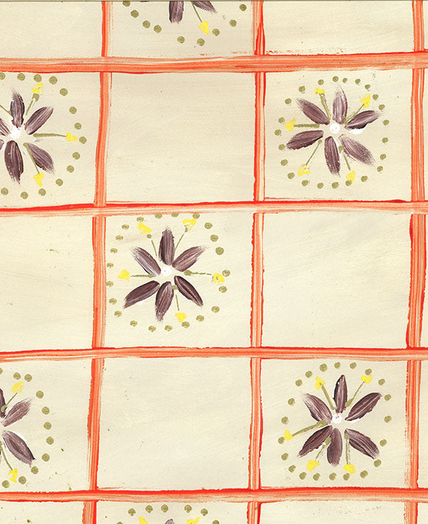 Check with Daisies Fabric