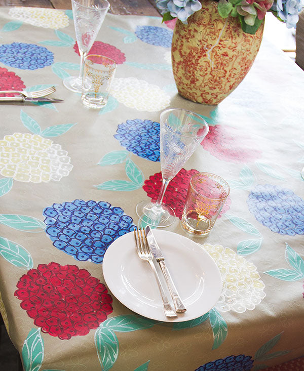 Hydrangeas on Stone Background Tablecloth