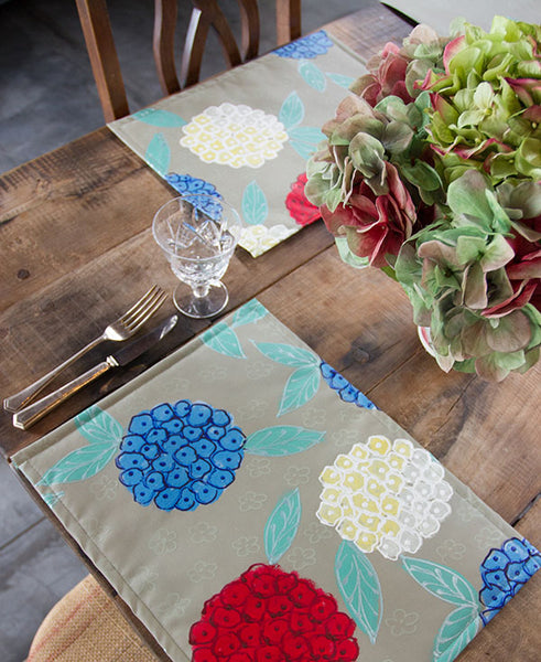 Hydrangeas on Stone Background Placemats