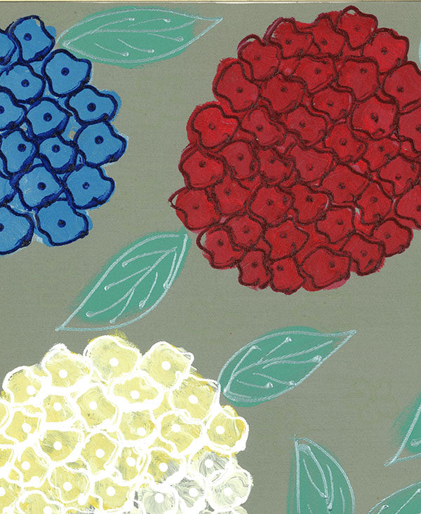 Hydrangeas on Stone Background Fabric