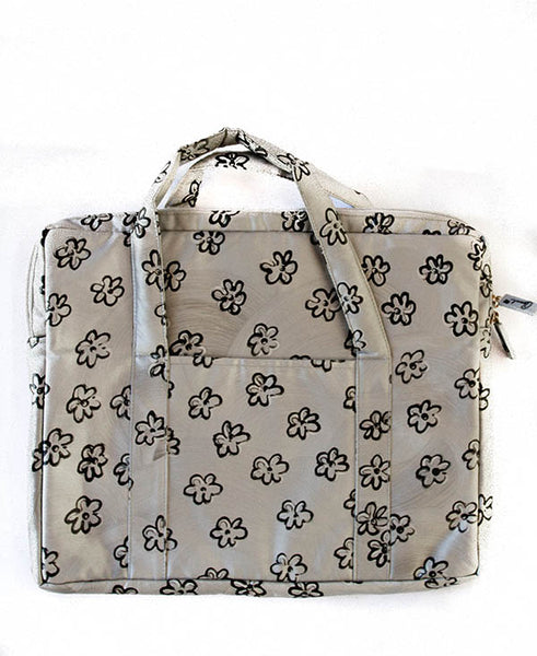 Black Daisies With Silver Mac Bag