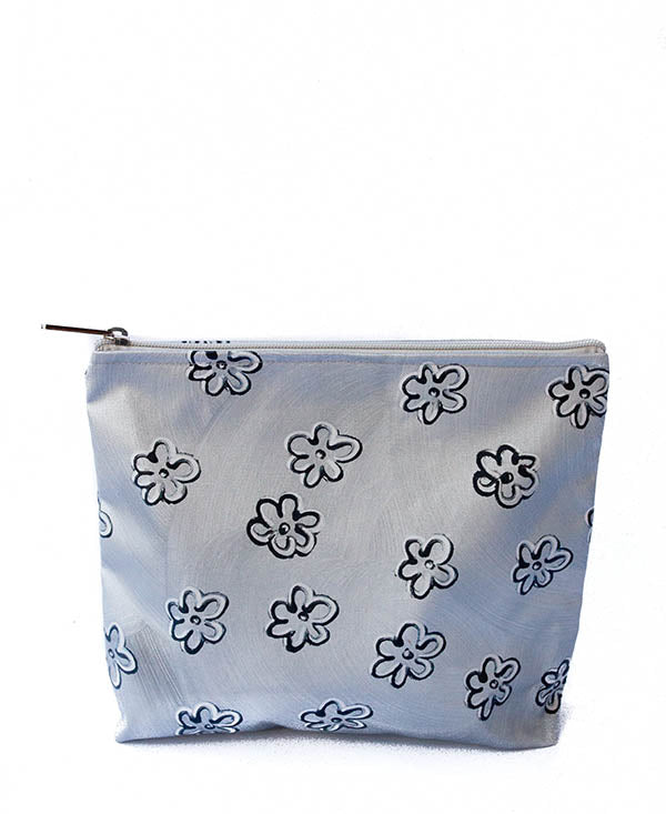 Black Daisies With Silver Ella Cosmetic Bag