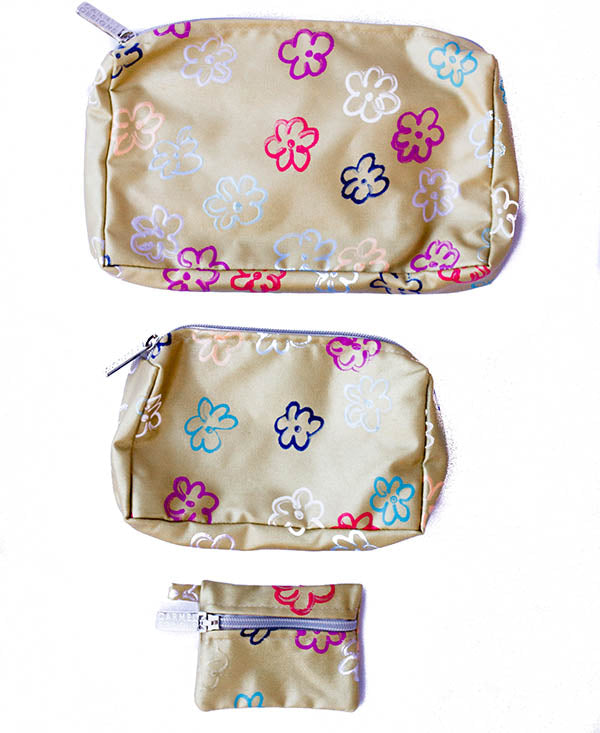 Daisies On Gold Cosmetic Bag Set Of 3