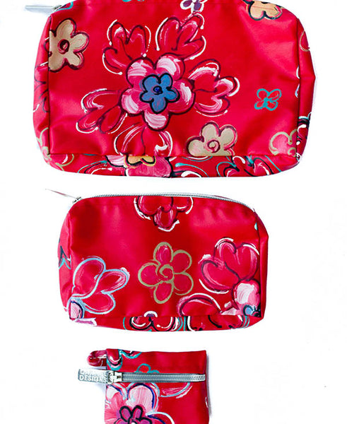 Retro Bright Floral Cosmetic Bag Set Of 3