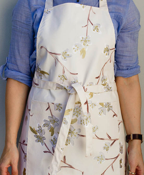 Silver and Gold Cherry Blossoms Apron